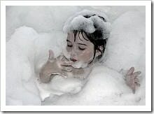 Child having a bubble bath