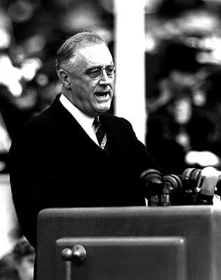 Franklin Delano Roosevelt in a wheelchair